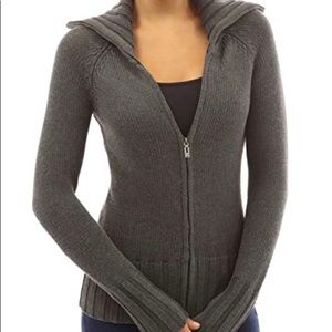 PattyBoutik Grey Sweater With Zipper Size S